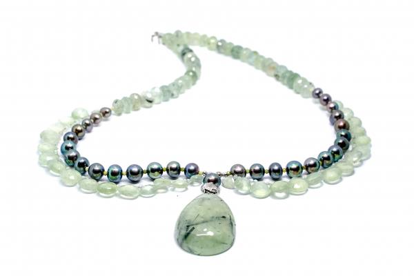 Colier Creatie cu Prehnit,Perla de Cultura si Argint [3]