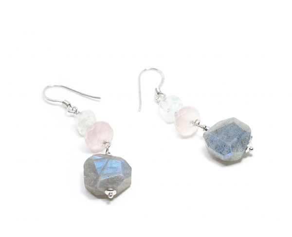 Cercei din Argint cu Labradorit, Cuart Roz si Piatra Lunii 0