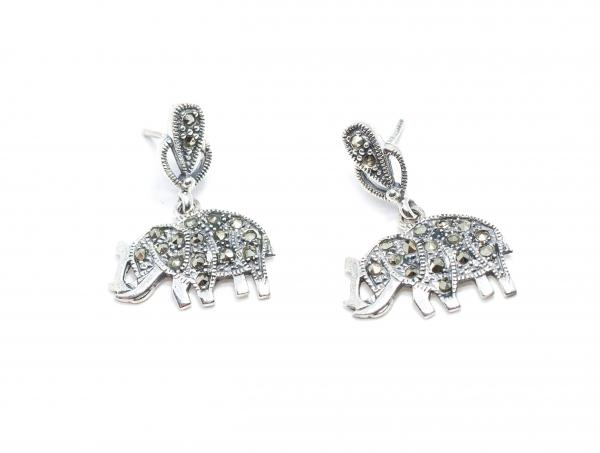 Cercei din Argint Elefanti cu Marcasite 0
