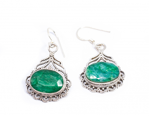 Cercei din Argint cu Agat Verde 1