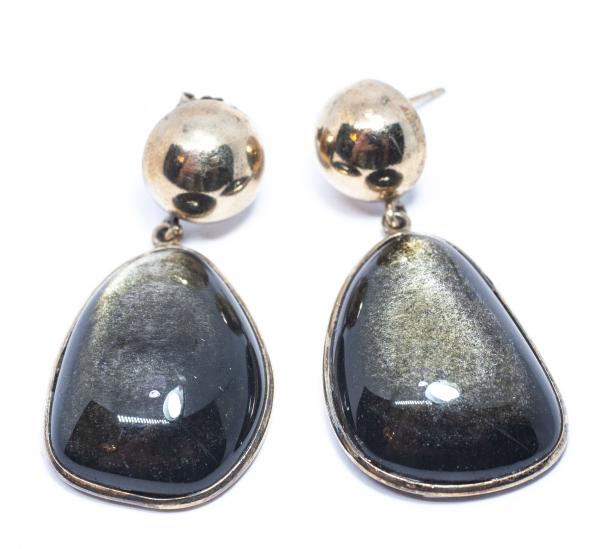 Cercei din Argint Aurit cu Obsidian 0