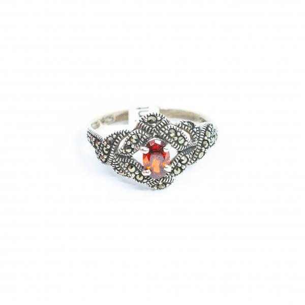 Inel din Argint cu Marcasite și Granat 0