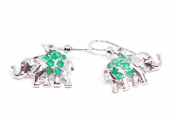 Cercei din Argint Elefant cu Smarald [1]