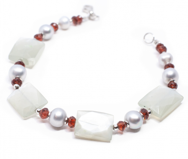 Bratara Creatie cu Perle de Cultura,Granat si Argint 0