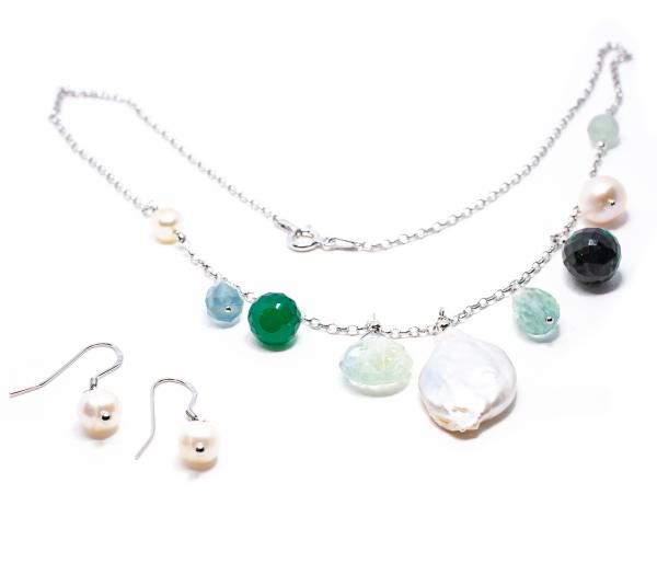 Lanț  Creație cu Perlă de Cultură,Zoisit,Ametist Verde,Agat Verde si Argint [0]