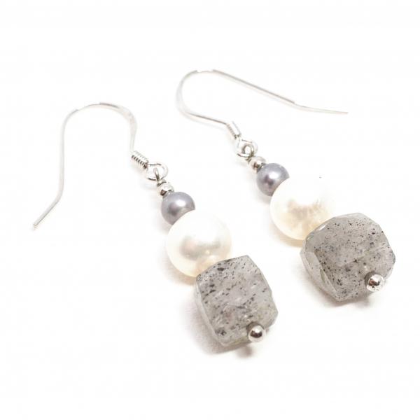 Cercei Creație  cu Perlă,Cuart Rutilat si Argint 0