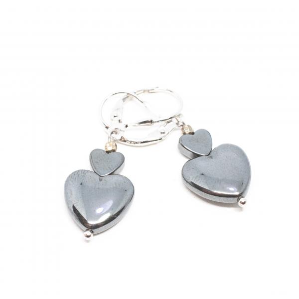 Cercei Creație  cu Hematit si Inimioare din Argint 0