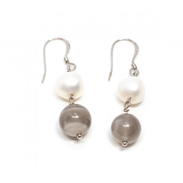 Cercei Creatie cu Perla de Cultura, Agat si Argint 0