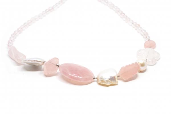 Colier Creatie din Cuart Roz, Perle si Argint [0]