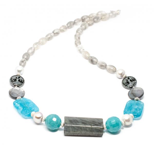 Colier Creație cu Sidef, Perlă, Hematit, Labradorit și Argint 0