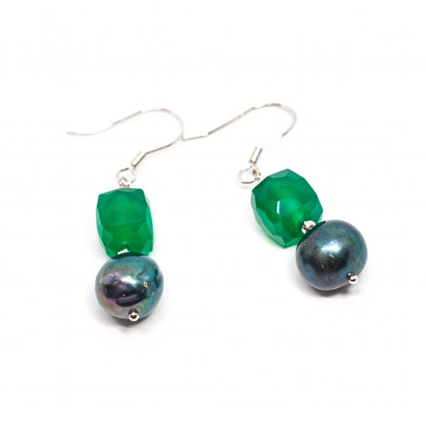 Cercei Creatie Perla de Cultura, Agat Verde si Argint [0]