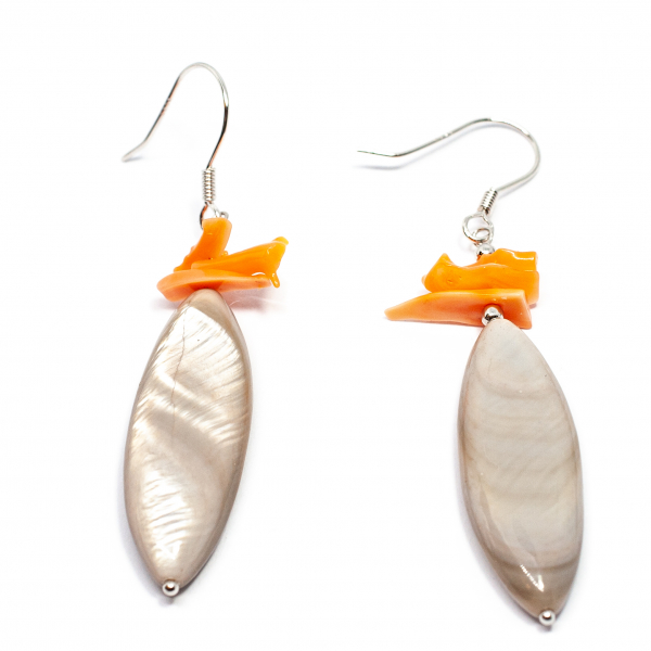 Cercei Creatie cu Sidef, Coral si Argint 0