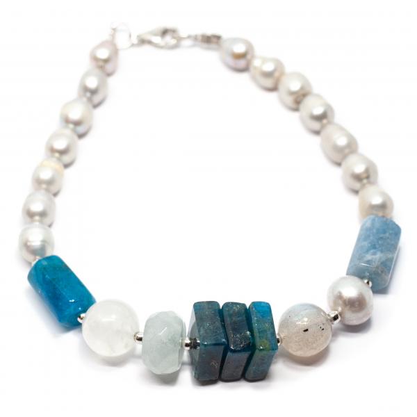Bratara Creatie cu Kunzit,Perle de Cultura,Labradorit,Cuart Roz si Argint [0]