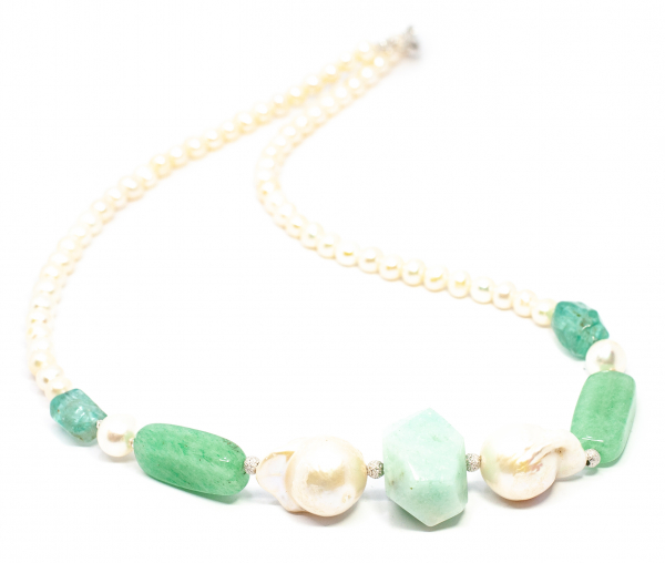 Colier Creatie cu Perla de Cultura,Apatit,Agat si Argint 0