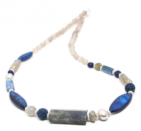 Colier Creatie cu Perla de Cultura,Sidef,Lapislazuli,Labradorit si Argint 0