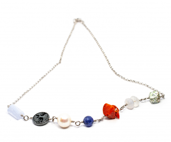 Lant Creatie cu Coral,Perla de Cultura,Lapislazuli,Hematit,Calcedonie si Argint [0]