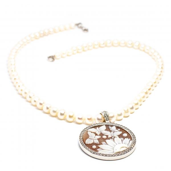 Colier Creație din Perlă cu Pandantiv Camee și Argint 0