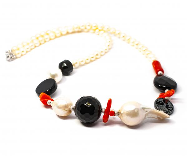 Colier Creatie cu Perla, Coral, Onix, Hematit si Argint 1