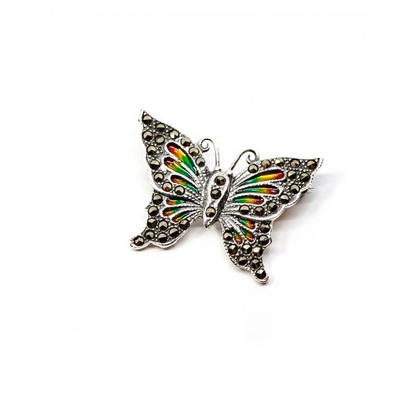 Brosa Fluture din Argint cu Email si Marcasite [0]