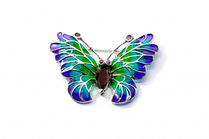 Broșă Fluture cu Email, Granat și Rubin din Argint 0