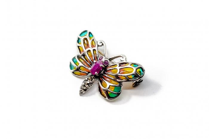 Brosa Fluture cu Email, Marcasite si Rubin din Argint 1