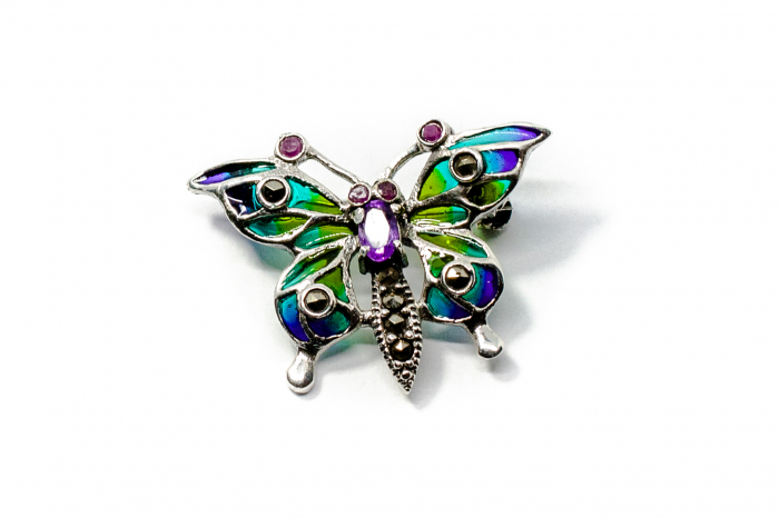 Brosa Fluture din Argint cu Ametist si Email [1]