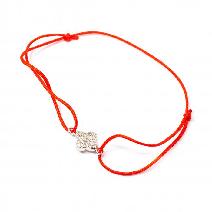 Brațară Șnur Roșu cu Pandantiv Trifoi din Argint 0