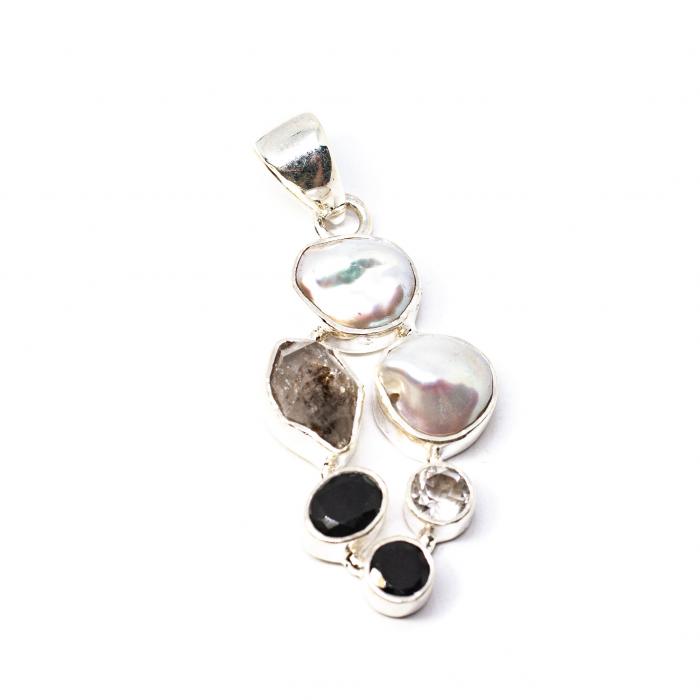 Pandantiv din Argint cu Perlă, Cuarț și Zirconiu [0]