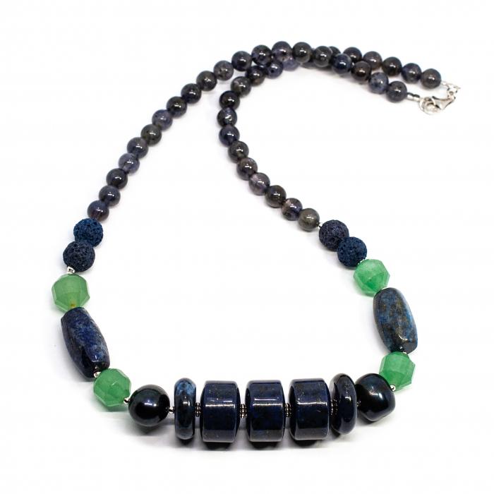 Colier Creatie cu Lapis Lazuli, Cuart, Aventurin, Perla si Argint [0]