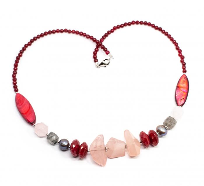 Colier Creatie Perle de Cultura, Cuart, Sidef, Agat si Argint 0