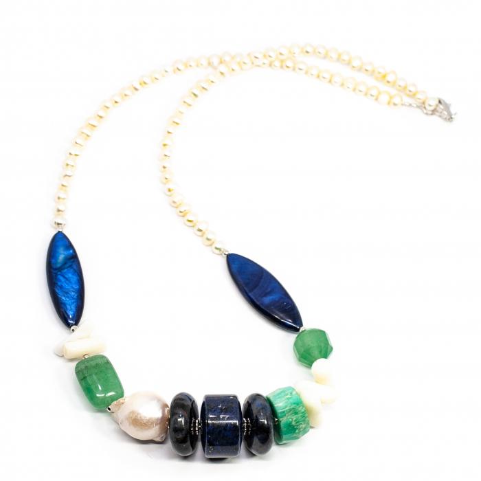 Colier Creatie cu Perle, Lapislazuli, Cuart si Argint 0