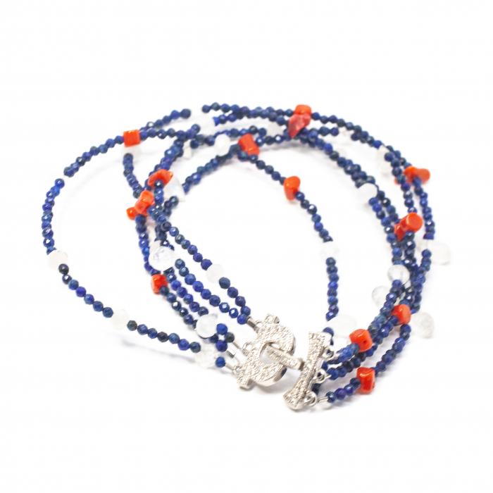 Bratara Creatie din Coral,Lapis Lazuli si Argint [0]
