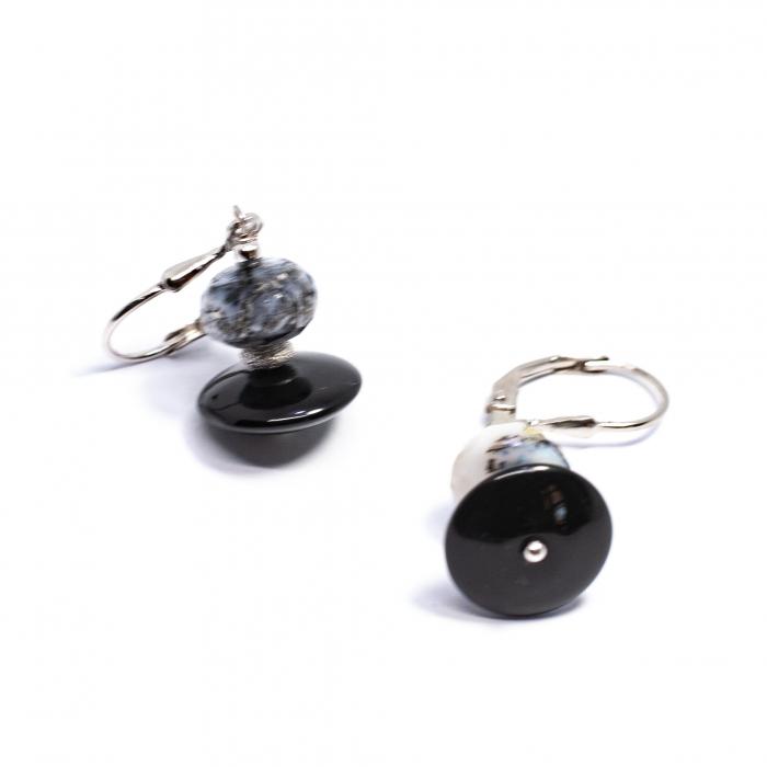 Cercei Creatie cu Onix,Cuart Tibetan si Argint [0]
