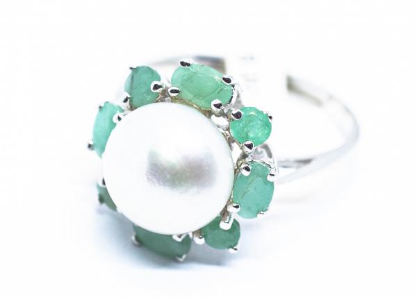 Inel din Argint cu Smarald si Perla de Cultura 0