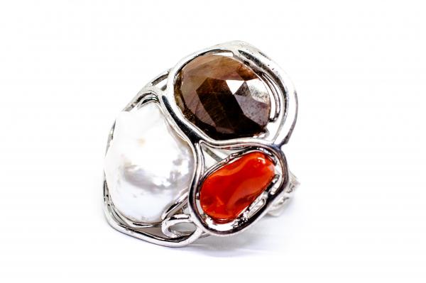 Inel din Argint cu  Coral ,Perla 1