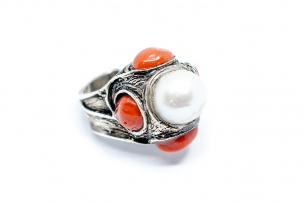 Inel din Argint cu Coral si Perla 2