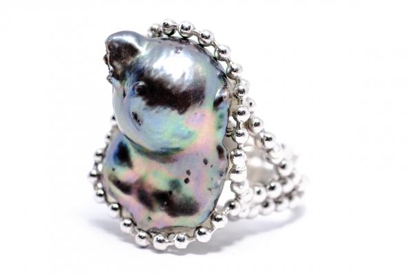 Inel din Argint cu Perla Baroc Gri 3