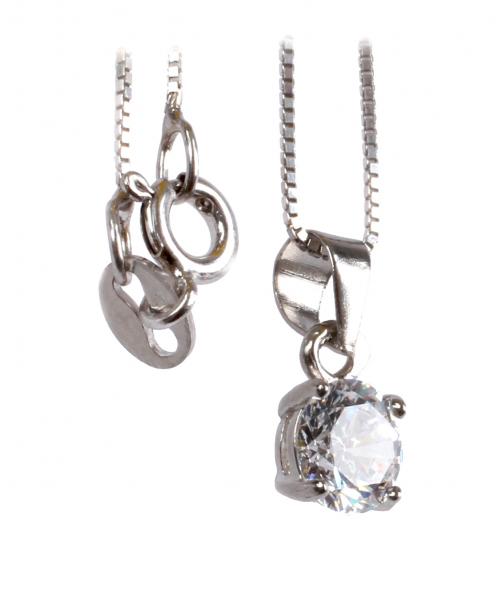 Lanţ din Argint cu Pandantiv Zirconiu 1