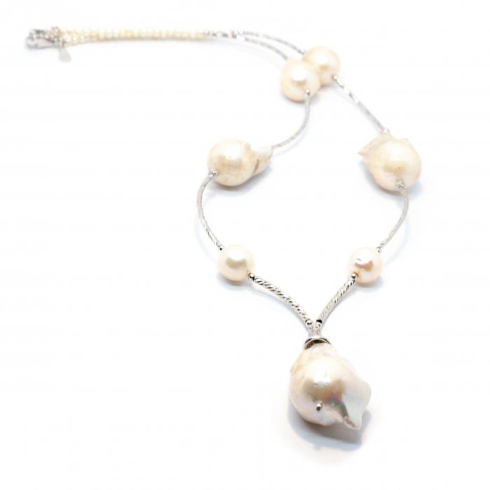 Lant Creatie cu Perla de Cultura,Perla Baroque si Argint [0]