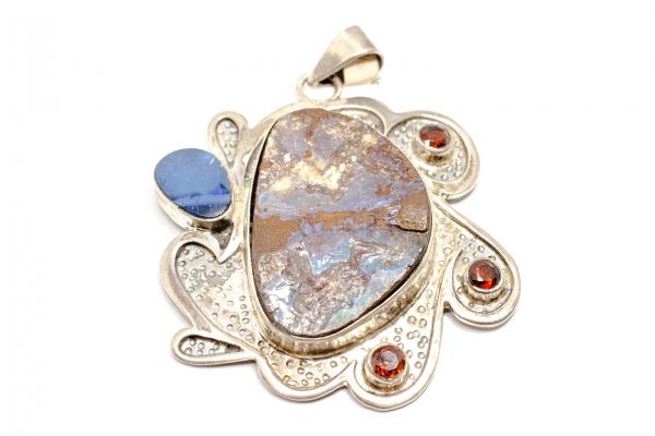 Pandantiv din Argint cu Opal Etiopian si Granat 0