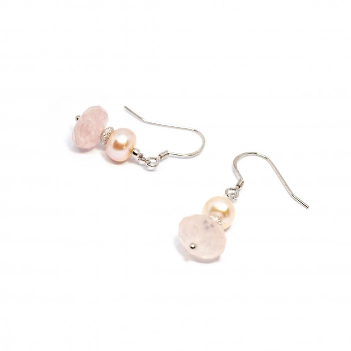 Cercei Creatie cu Perla, Cuart Roz si Argint 0