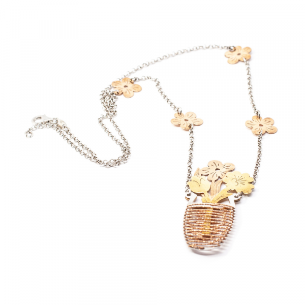 Lanț din Argint cu Pandantiv Ghiveci cu Flori [1]