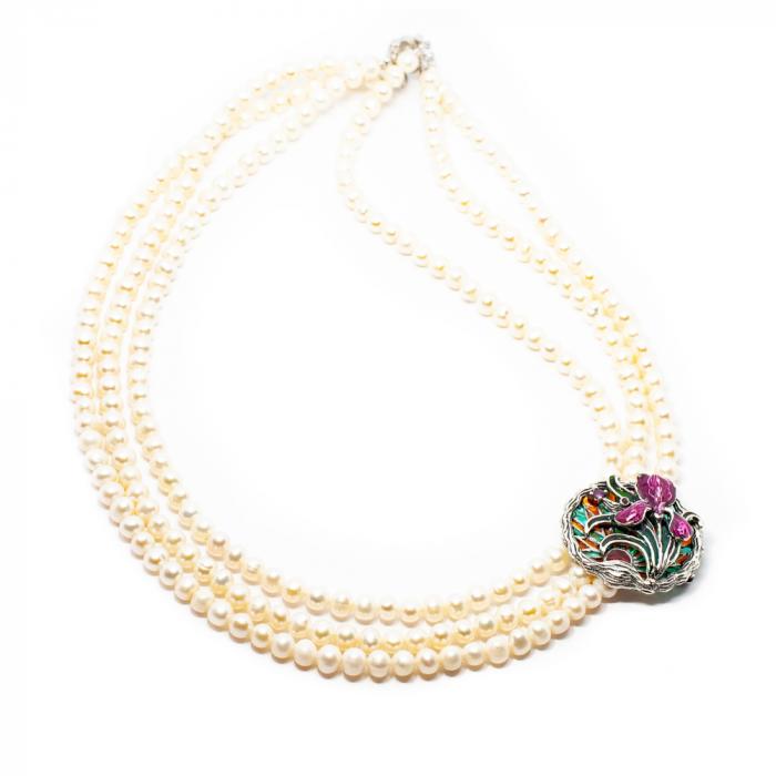 "Colier ""Iris"" din perle cu brosa aplicata [0]"