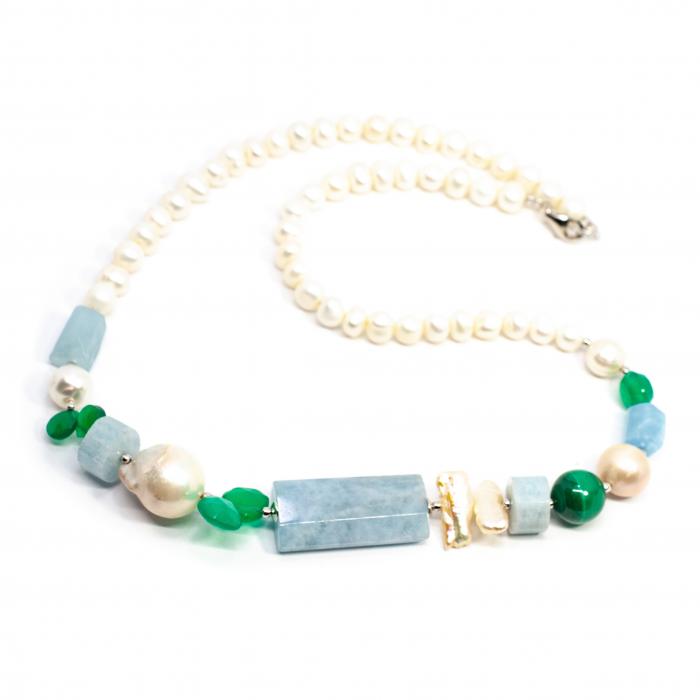 Colier Creatie cu Perla, Agat Verde, Malahit, Sidef si Argint [0]