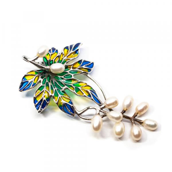 Brosa Floare din Argint cu Email și Perle de Cultura 1