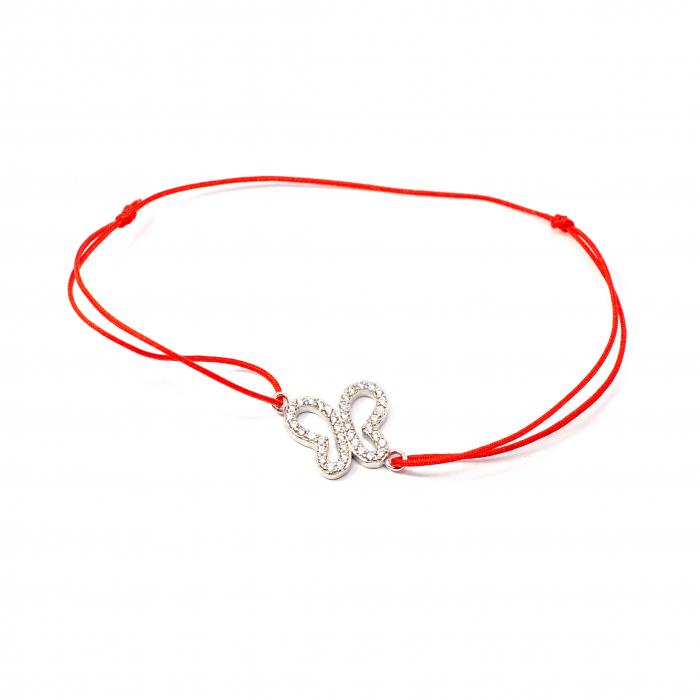 Brațară Șnur Roșu cu Pandantiv Fluture din Argint 0
