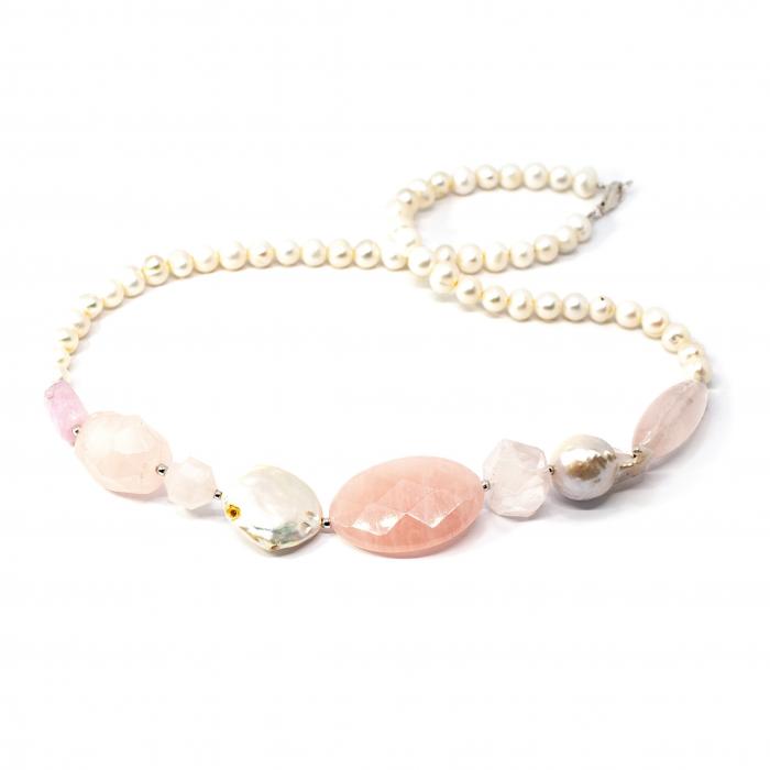 Set Cercei si Colier Creatie cu Perla de Cultura,Kunzit,Cuart Roz si Argint 0
