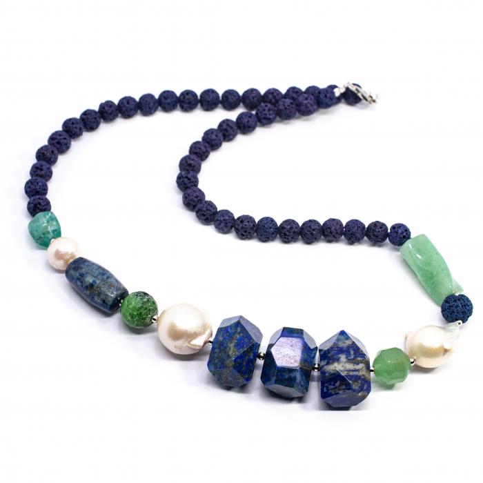 Colier Creatie cu Perle de Cultura, Coral Spongios, Aventurin , Apatit,Lapislazuli, Zoisit si Argint 0