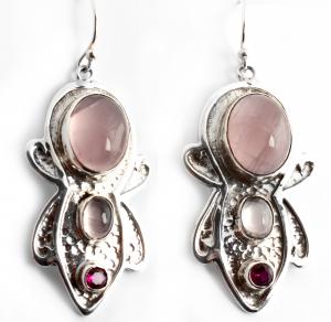 Cercei din Argint cu Cuarț Roz0