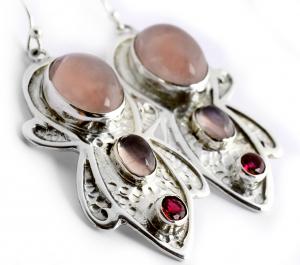 Cercei din Argint cu Cuarț Roz1